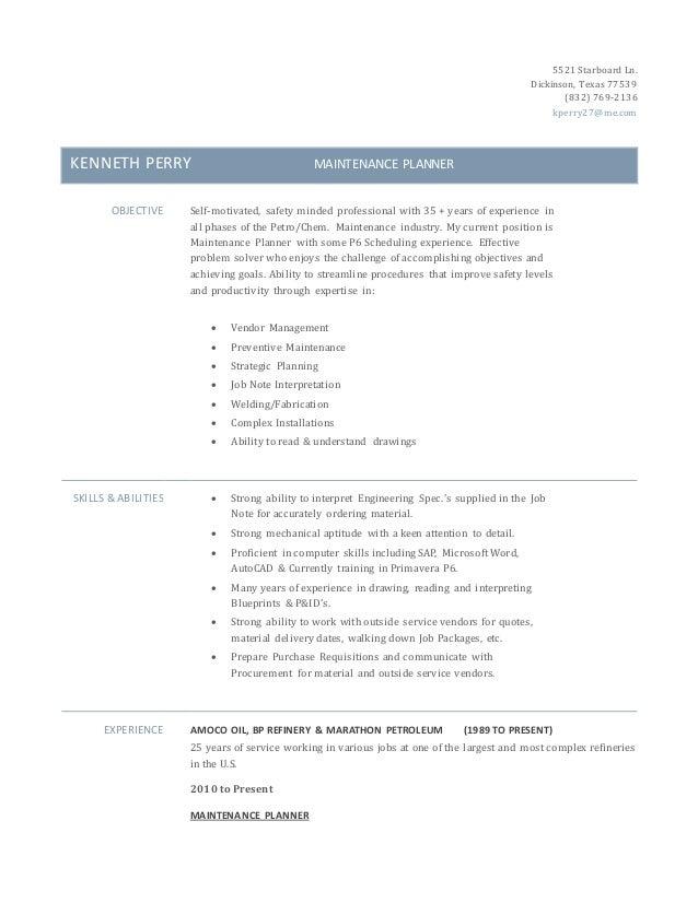 Ken Perry Maintenance Planner Resume