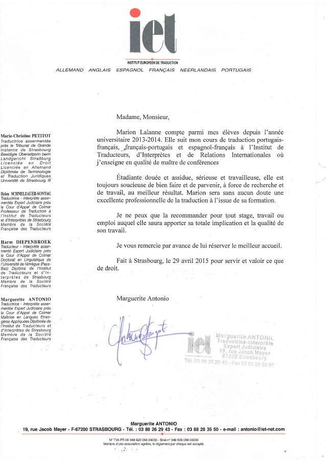 lettre de recommandation en anglais traduction Lettre de recommandation Mme ANTONIO lettre de recommandation en anglais traduction