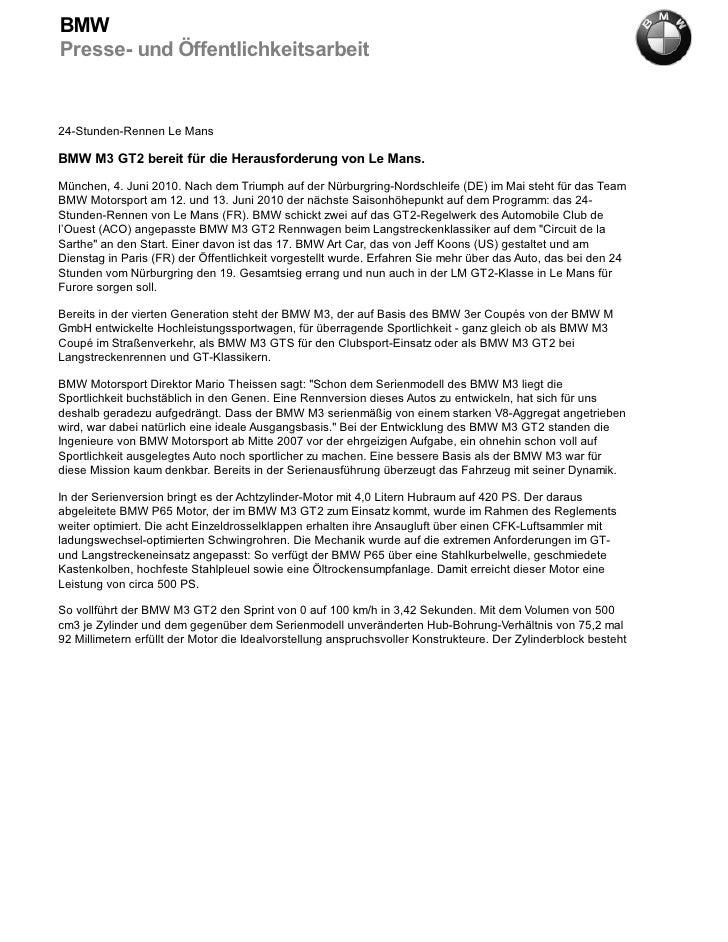 BMWPresse- und Öffentlichkeitsarbeit24-Stunden-Rennen Le MansBMW M3 GT2 bereit für die Herausforderung von Le Mans.München...