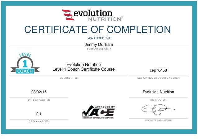 Evolution Nutrition Level 1 Coach Certificate Course