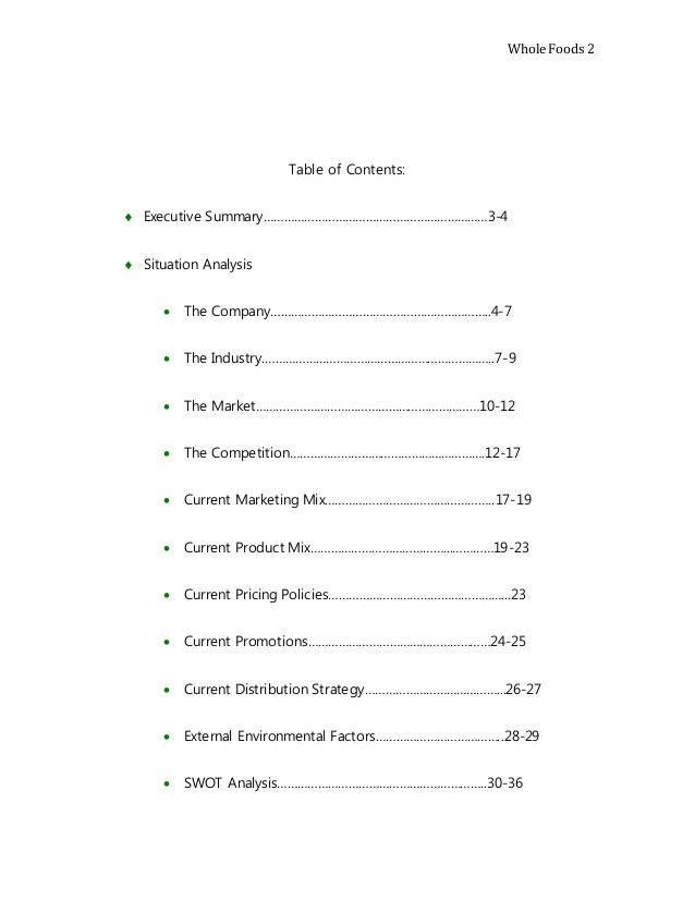 Final marketing plan - Marketing plan table of contents ...