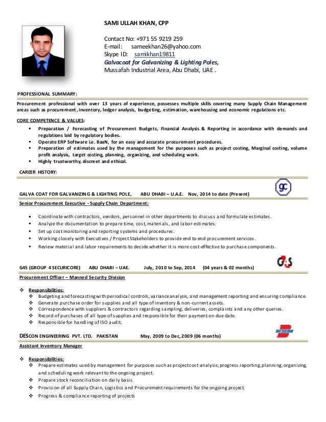 Procurement Executive CV. SAMI ULLAH KHAN, CPP Contact No: +971 55 9219 259  E Mail ...  Purchase Resume Sample