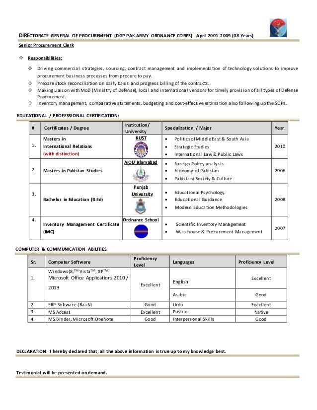 procurement executive cv