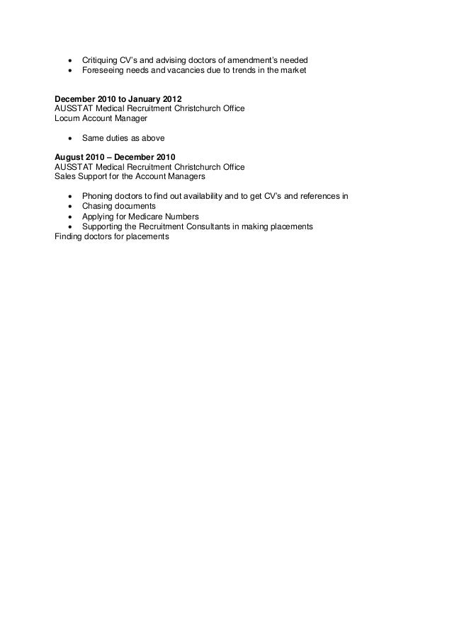 Resume Employment History Related to Medical Recruitment