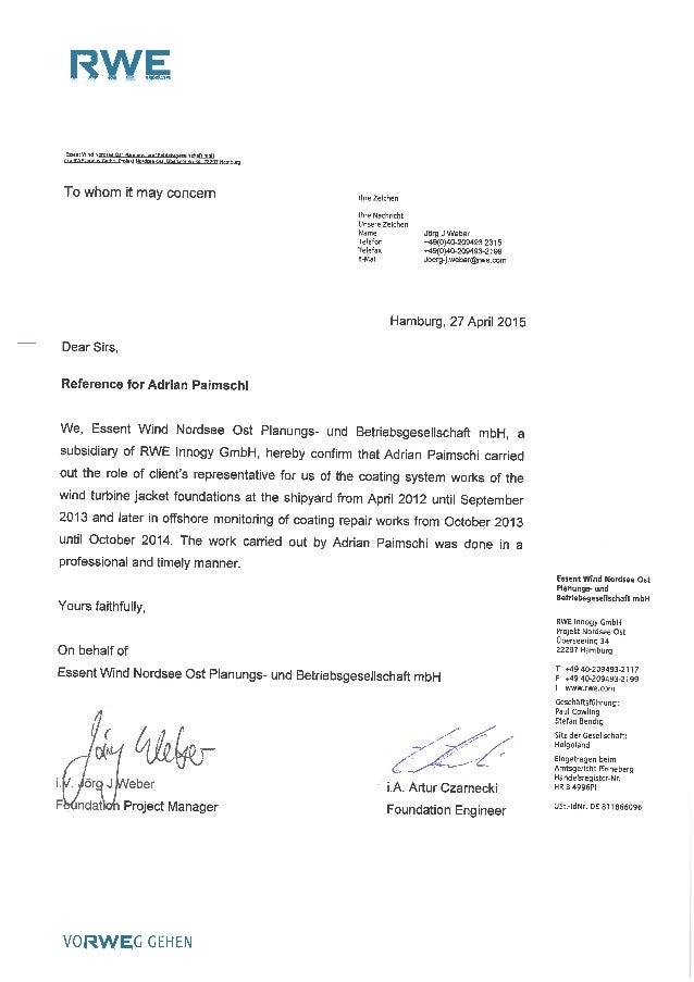 Reccomandation letter -RWE- NordSee Ost Project