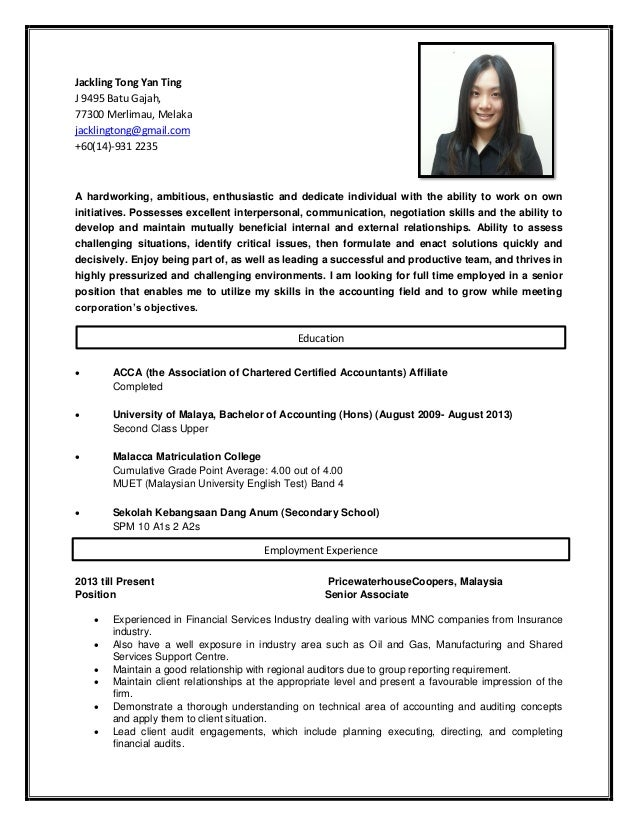 Jackling tong resume ey for Ernst and young resume sample