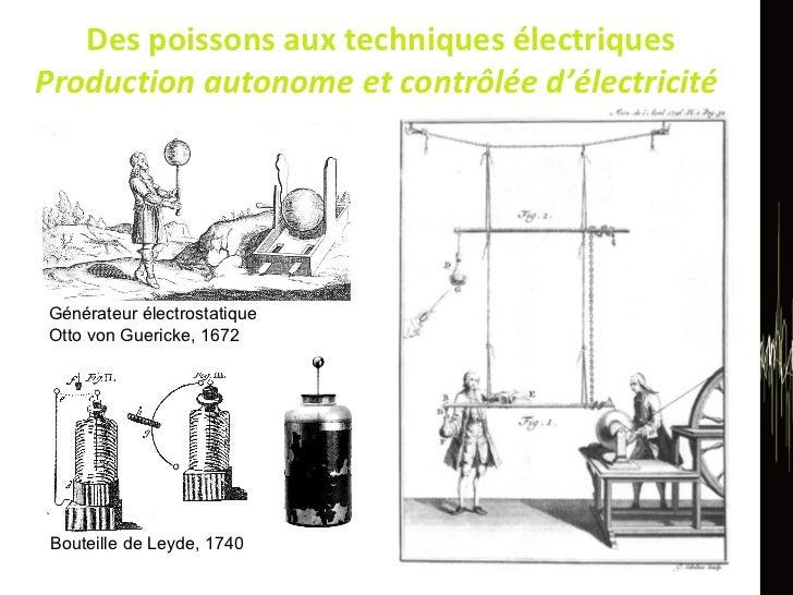 Des poissons aux techniques électriques Production autonome et contrôlée d'électricité  Bouteille de Leyde, 1740 Générateu...