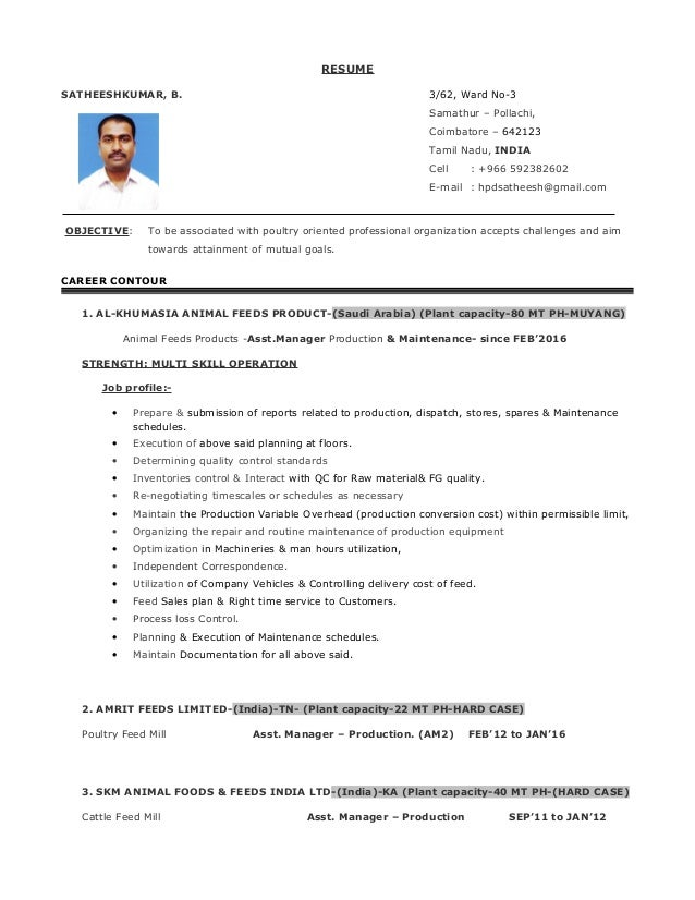 Contemporary Feed Mill Manager Resume Vignette - Best Resume ...
