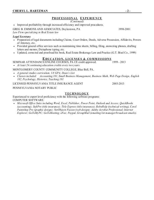 cheryl evans resume
