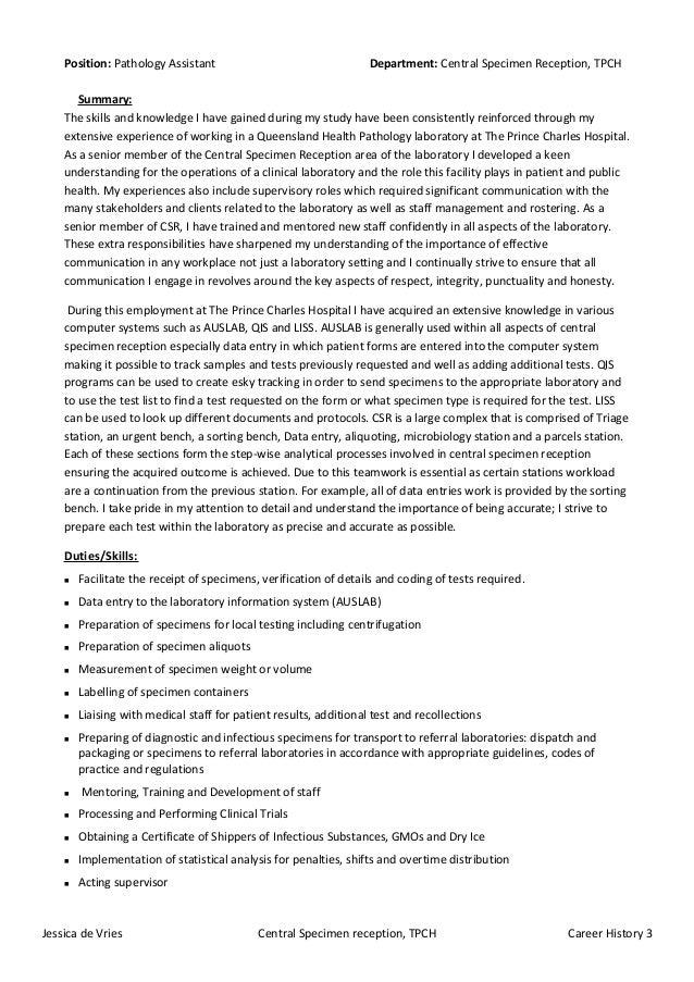 csr pathology assistant job description