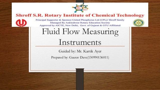 Flow Measuring Instruments : Fluid flow measuring instruments