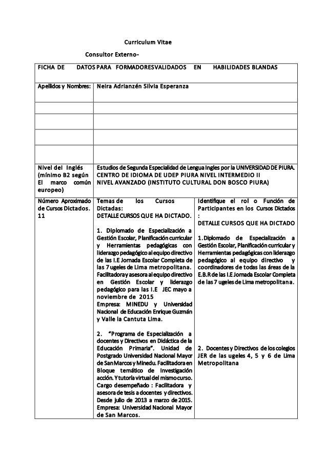 Curriculum Vitae Consultor Externo- FICHA DE DATOS PARA FORMADORESVALIDADOS EN HABILIDADES BLANDAS Apellidos y Nombres: Ne...