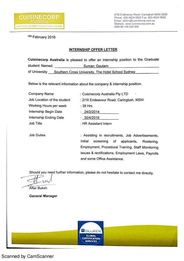 Internship Offer Letter HR