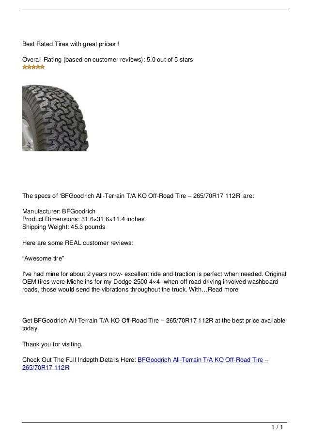 Bfgoodrich All Terrain T A Ko Off Road Tire 8211 265 70r17 112r