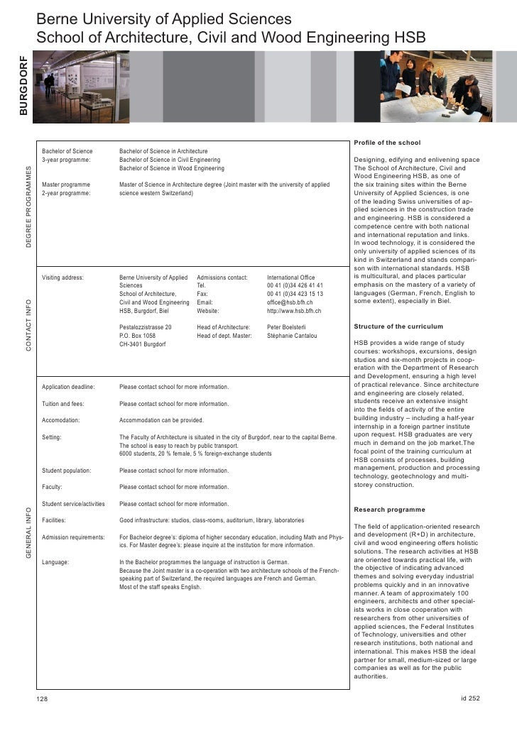 Berne University of Applied Sciences                          School of Architecture, Civil and Wood Engineering HSB BURGD...