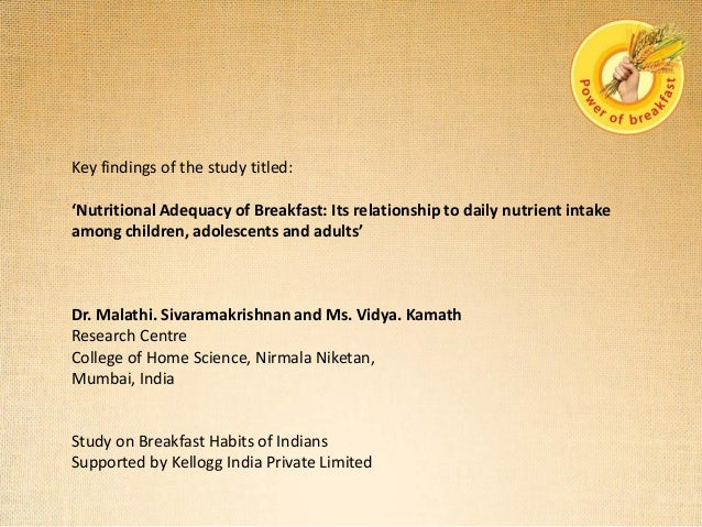 Key findings of the study titled: 'Nutritional Adequacy of Breakfast: Its relationship to daily nutrient intake among chil...