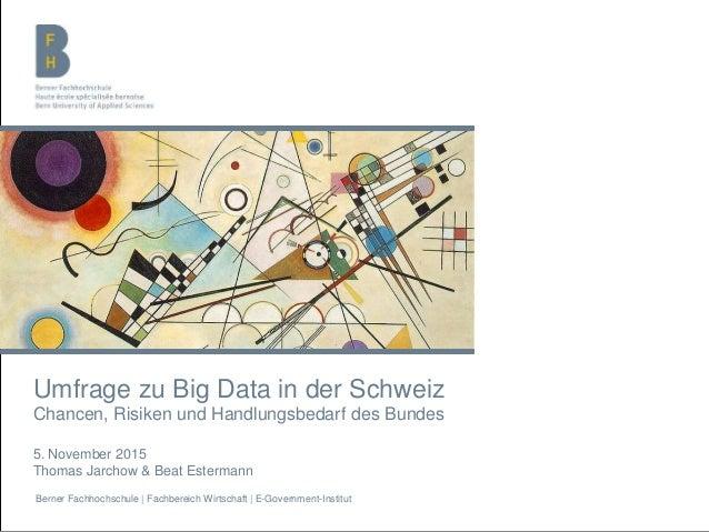 Berner Fachhochschule | Fachbereich Wirtschaft | E-Government-Institut Umfrage zu Big Data in der Schweiz Chancen, Risiken...