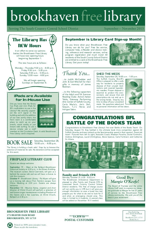 brookhavenfreelibrary September – November 2013Serving The South Country Central School District BROOKHAVEN FREE LIBRARY 2...