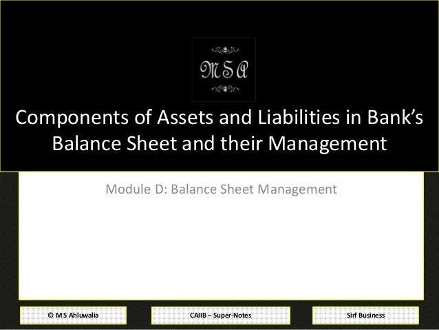 CAIIB Super Notes Bank Financial Management Module D Balance Sheet – Components of Balance Sheet