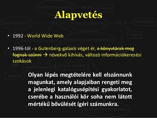 Alapvetés • 1992 - World Wide Web • 1996-tól - a Gutenberg-galaxis véget ér, a könyvtárak meg fognak szűnni  növekvő kihí...