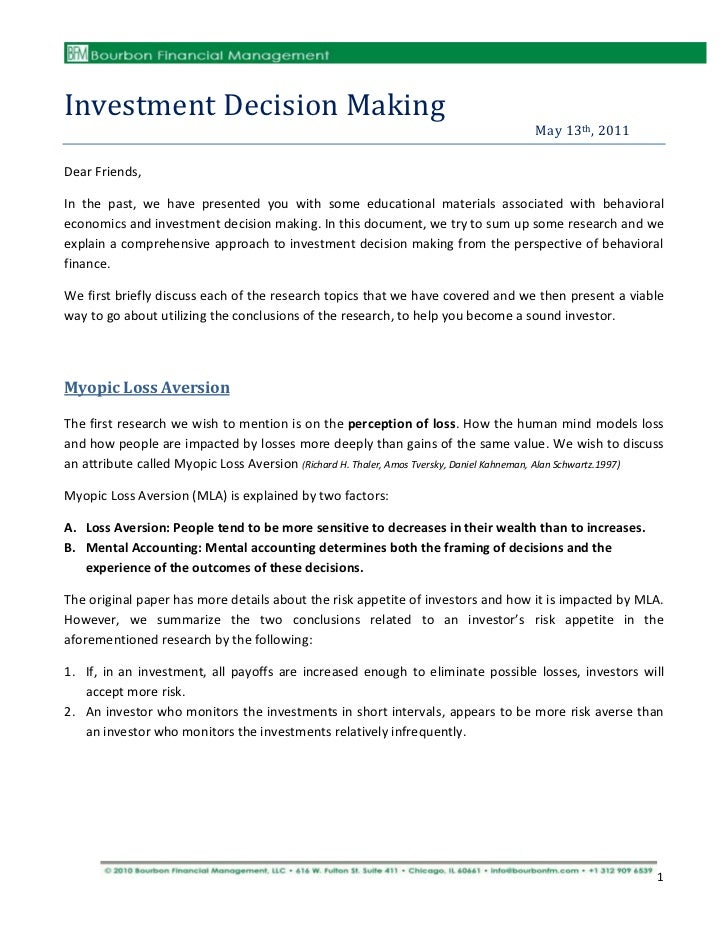 Investment Decision Making                                                                                       May 13th,...