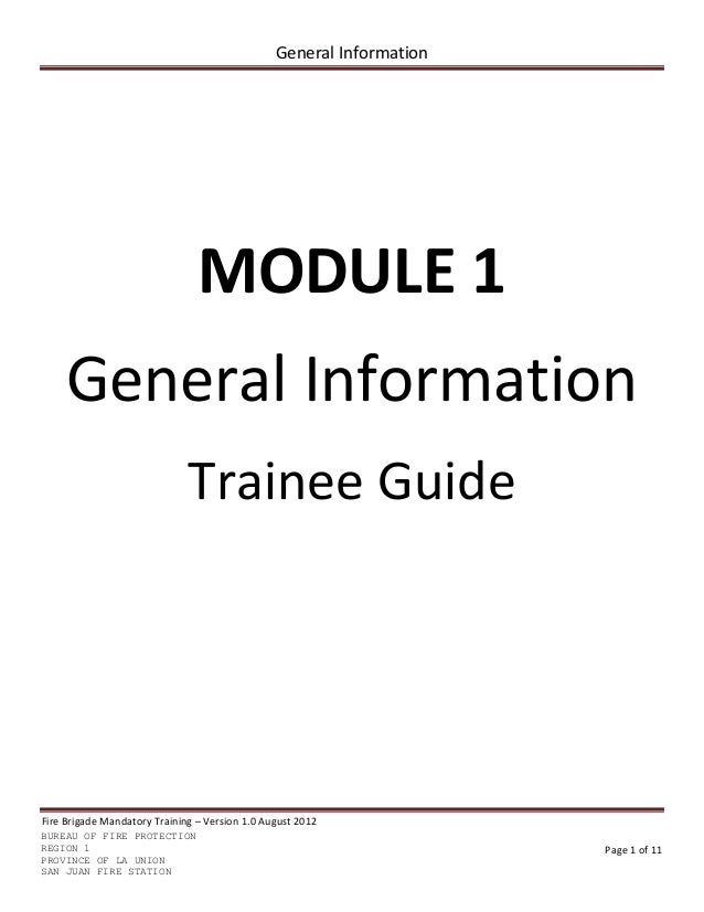 competency training fire brigade trainee guide module 1-5