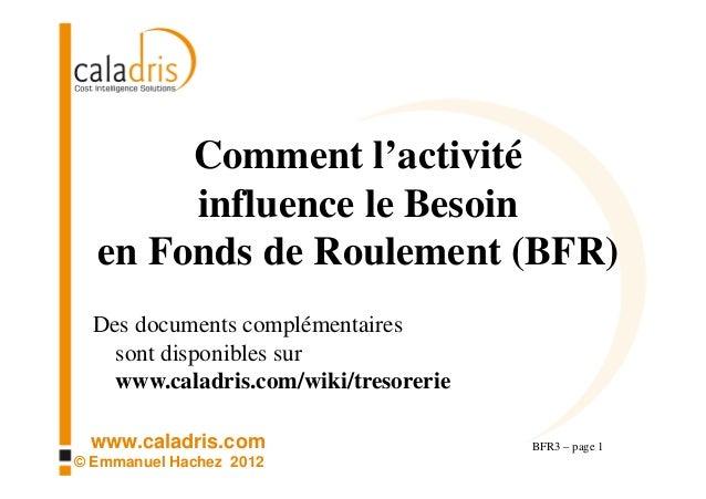 Comment l'activité       influence le Besoin  en Fonds de Roulement (BFR)  Des documents complémentaires    sont disponibl...