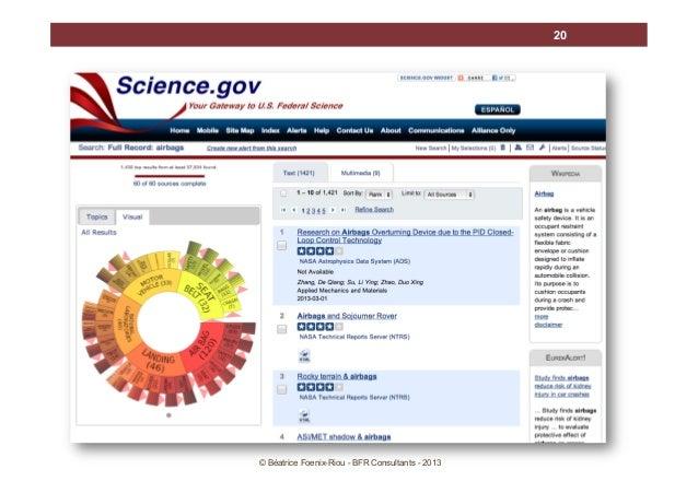 20  SCIENCE.GOV  © Béatrice Foenix-Riou - BFR Consultants - 2013