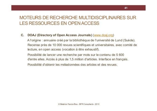 41  MOTEURS DE RECHERCHE MULTIDISCIPLINAIRES SUR LES RESSOURCES EN OPEN ACCESS C.  DOAJ (Directory of Open Access Journals...