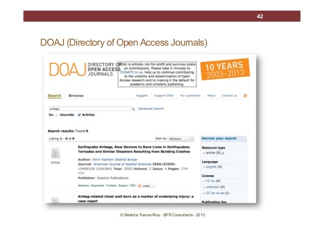 42  DOAJ (Directory of Open Access Journals)  © Béatrice Foenix-Riou - BFR Consultants - 2013