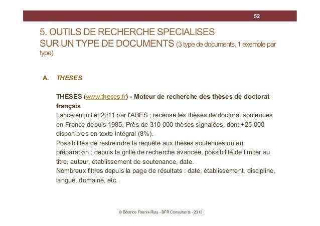 52  5. OUTILS DE RECHERCHE SPECIALISES SUR UN TYPE DE DOCUMENTS (3 type de documents, 1 exemple par type)  A.  THESES THES...