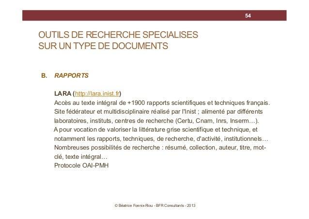 54  OUTILS DE RECHERCHE SPECIALISES SUR UN TYPE DE DOCUMENTS B.  RAPPORTS LARA (http://lara.inist.fr) Accès au texte intég...