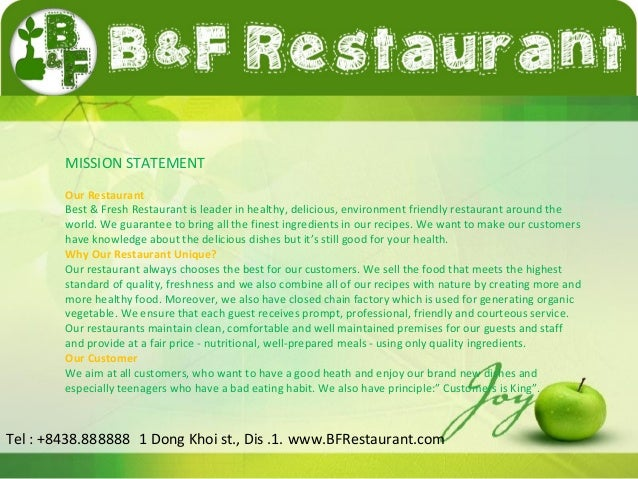 Good Vision Statements For Restaurants