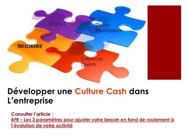 Développer une Culture Cash dans L'entreprise Dettes Fournisseurs Créances Clients TRESORERIE STOCKS Consulter l'article :...