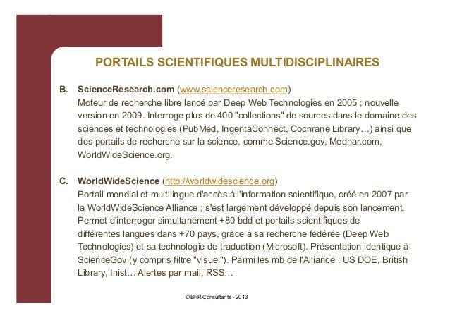 PORTAILS SCIENTIFIQUES MULTIDISCIPLINAIRES B.  ScienceResearch.com (www.scienceresearch.com) Moteur de recherche libre lan...