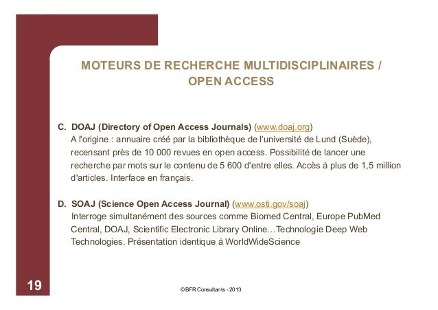 MOTEURS DE RECHERCHE MULTIDISCIPLINAIRES / OPEN ACCESS  C. DOAJ (Directory of Open Access Journals) (www.doaj.org) A l'ori...