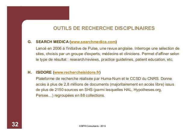 OUTILS DE RECHERCHE DISCIPLINAIRES G.  SEARCH MEDICA (www.searchmedica.com) Lancé en 2006 à l'initiative de Pulse, une rev...