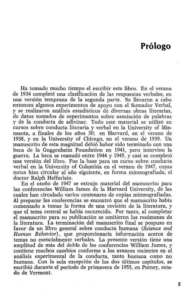 PDF) Conducta Verbal de B.F. Skinner un an lisis retrospectivo