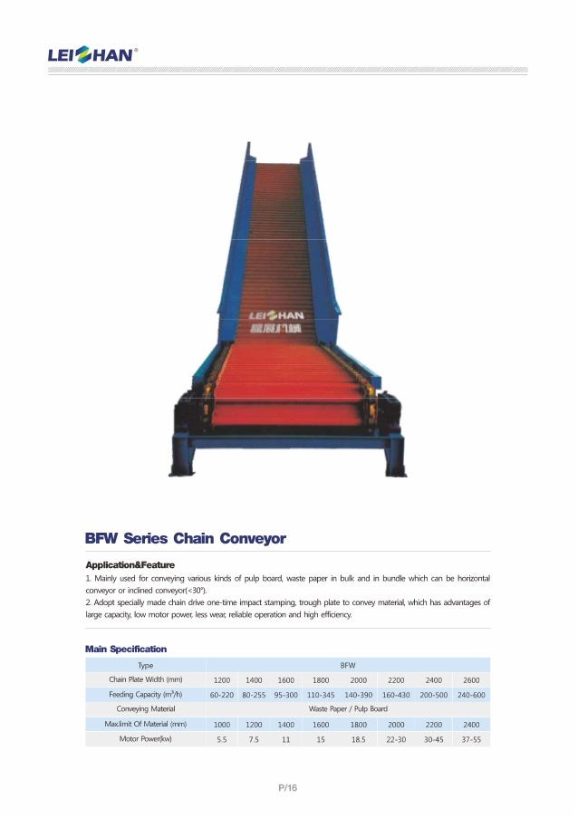 """l'. El""""_F Vt. '-£; iF! ®  jr 11:7-we' _:  _- 5- Nil.   BFW Series Chain Conveyor  Application&Fea1ure  1. Mainly used for ..."""