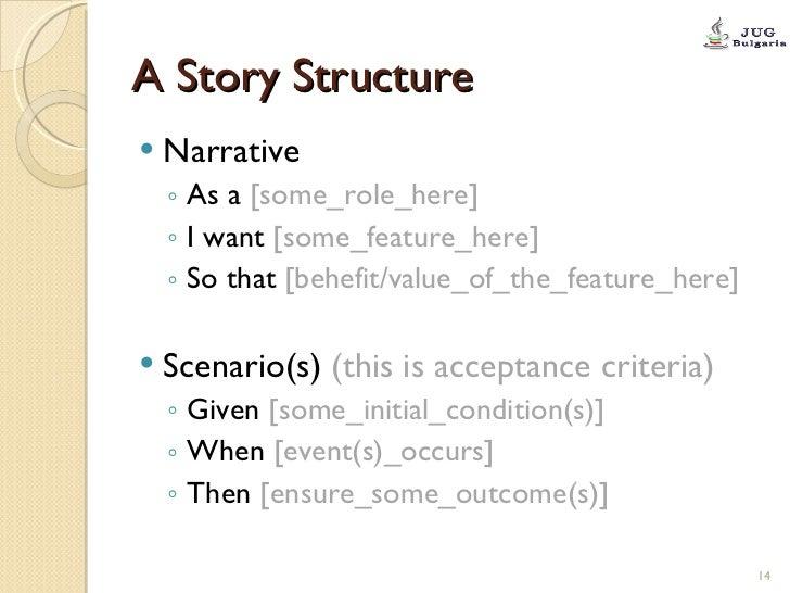 A Story Structure <ul><li>Narrative  </li></ul><ul><ul><li>As a  [some_role_here] </li></ul></ul><ul><ul><li>I want  [some...