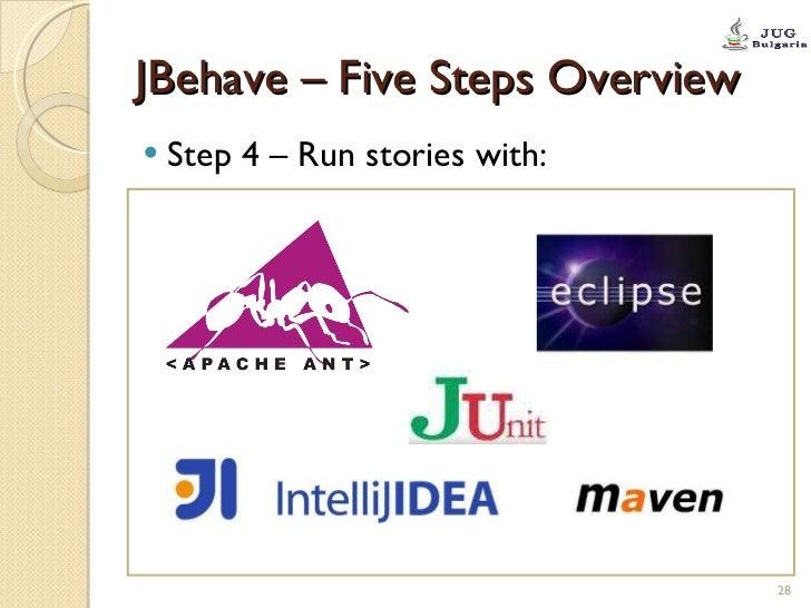 JBehave – Five Steps Overview <ul><li>Step 4 – Run stories with: </li></ul>