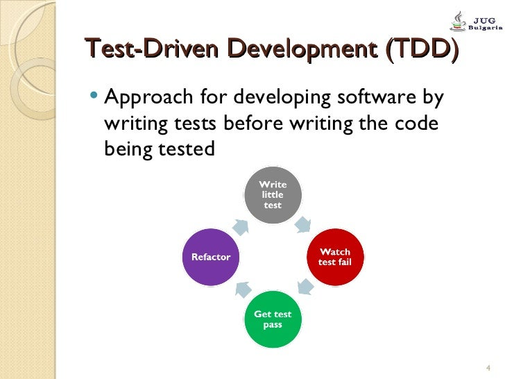 Test-Driven Development (TDD) <ul><li>Approach for developing software by writing tests before writing the code being test...