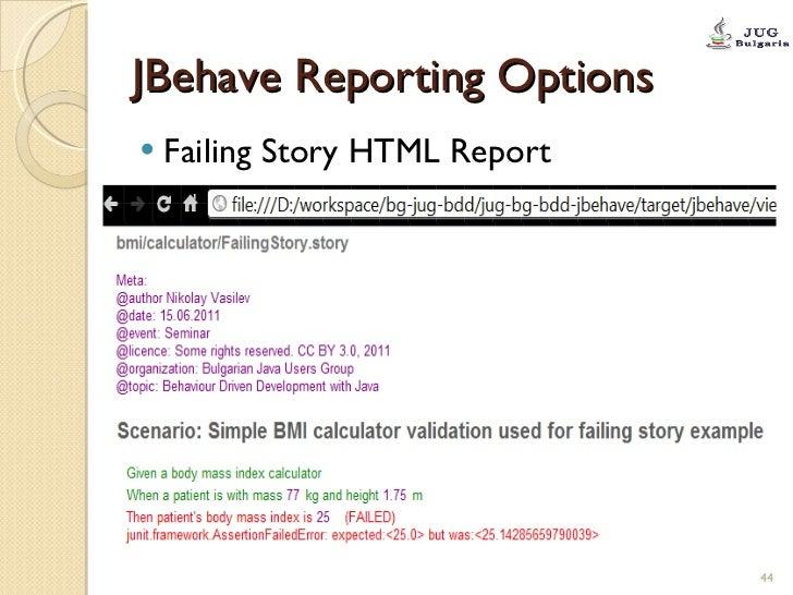 JBehave Reporting Options <ul><li>Failing Story HTML Report </li></ul>
