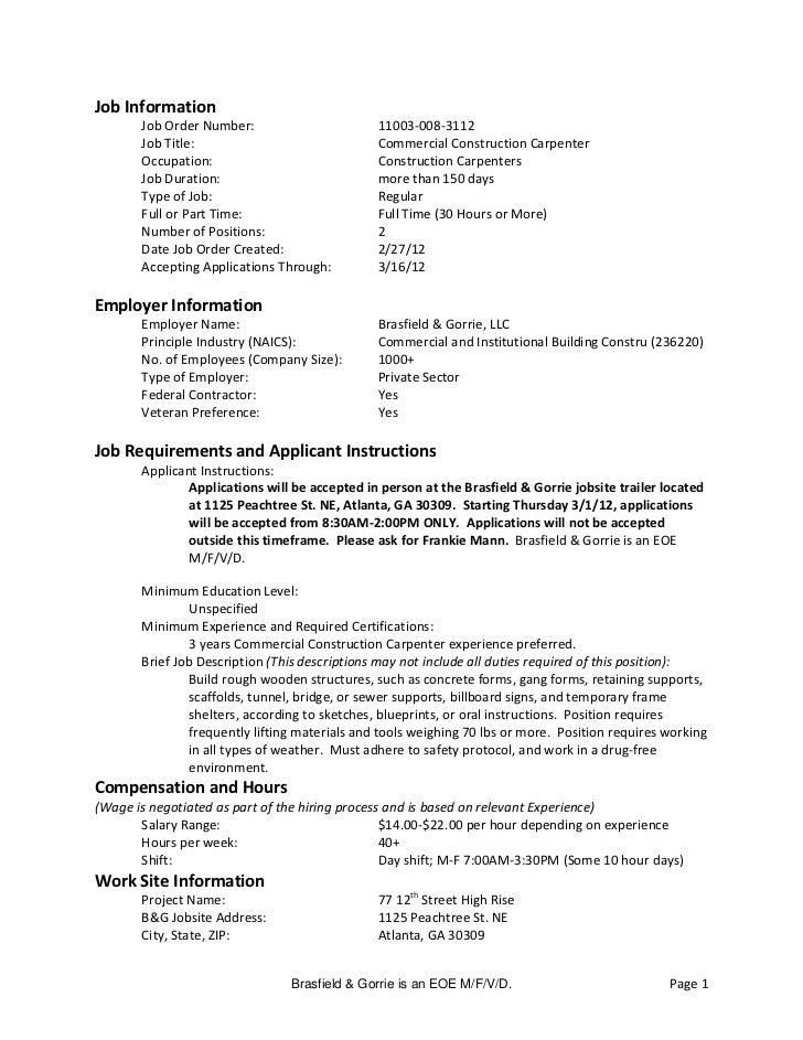 Job Information       Job Order Number:                       11003-008-3112       Job Title:                             ...