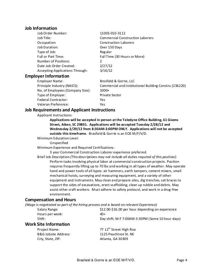 Job Information       Job Order Number:                       11003-010-3112       Job Title:                             ...