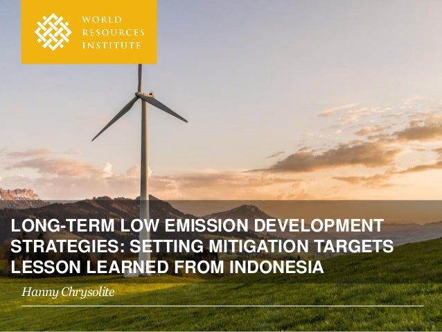 LONG-TERM LOW EMISSION DEVELOPMENT STRATEGIES: SETTING MITIGATION TARGETS LESSON LEARNED FROM INDONESIA Hanny Chrysolite