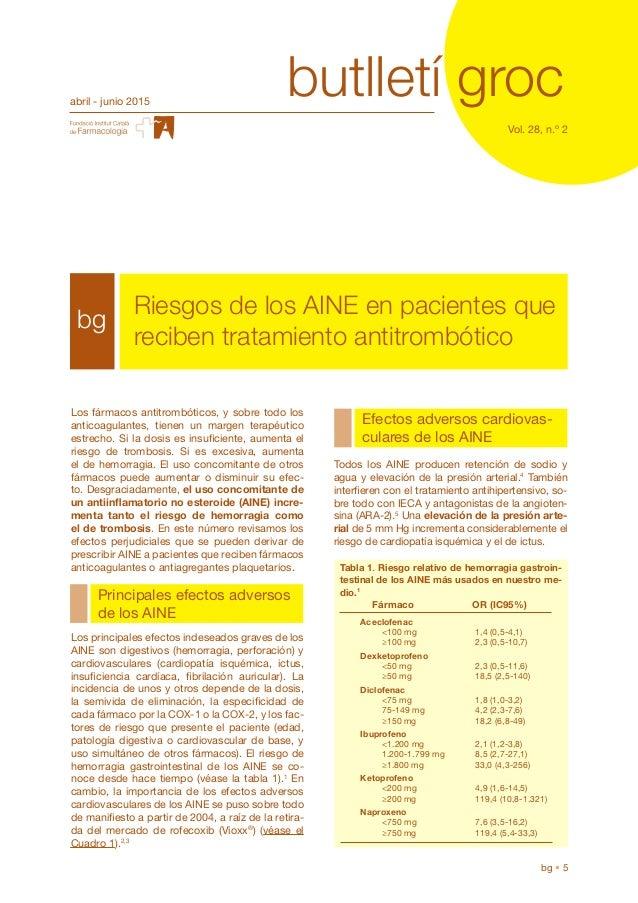 butlletí grocabril - junio 2015 Vol. 28, n.º 2 bg • 5 bg Riesgos de los AINE en pacientes que reciben tratamiento antitrom...