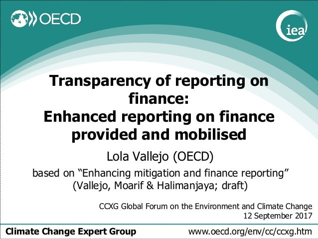 Climate Change Expert Group www.oecd.org/env/cc/ccxg.htm Transparency of reporting on finance: Enhanced reporting on finan...
