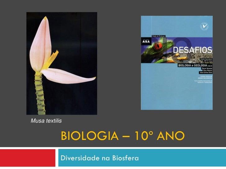 Musa textilis               BIOLOGIA – 10º ANO             Diversidade na Biosfera