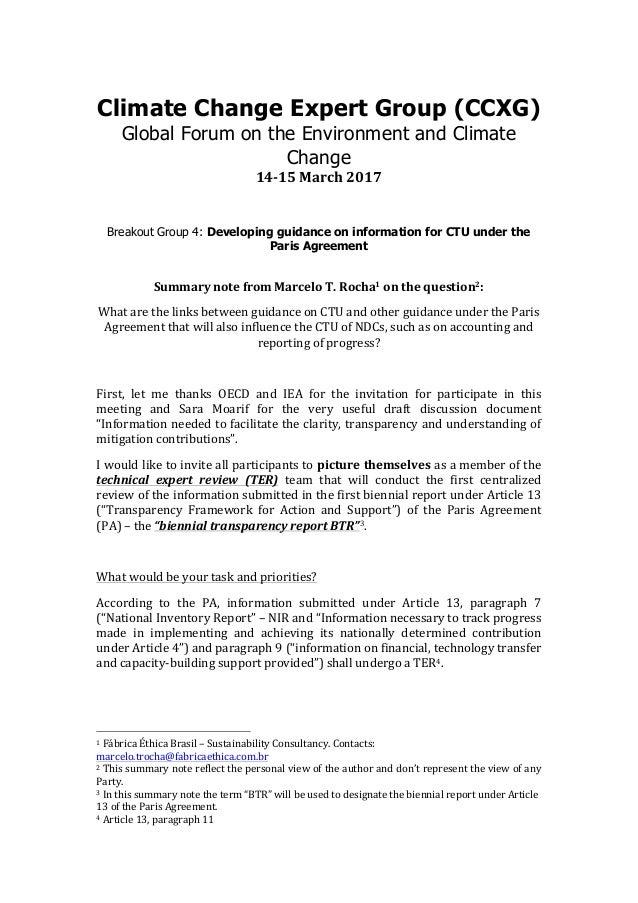 Cccxg Global Forum March 2017 Bg4 Summary Note Links Between Guidanc